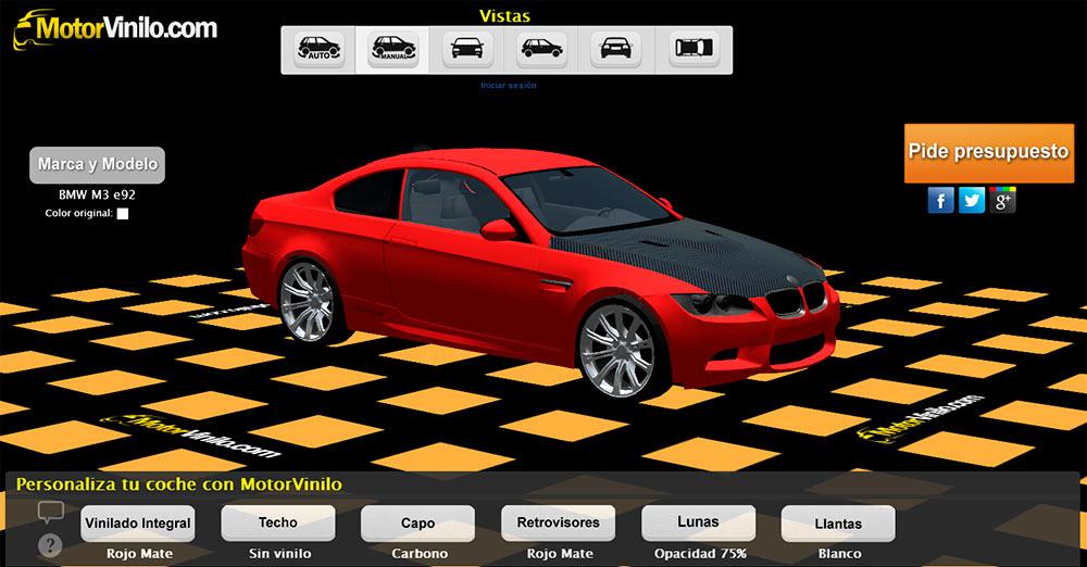 Configurador de coches 3D de MotorVinilo. Guía, usos y trucos